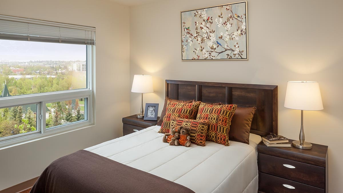bright bedroom at Chartwell Eau Claire Care Residence