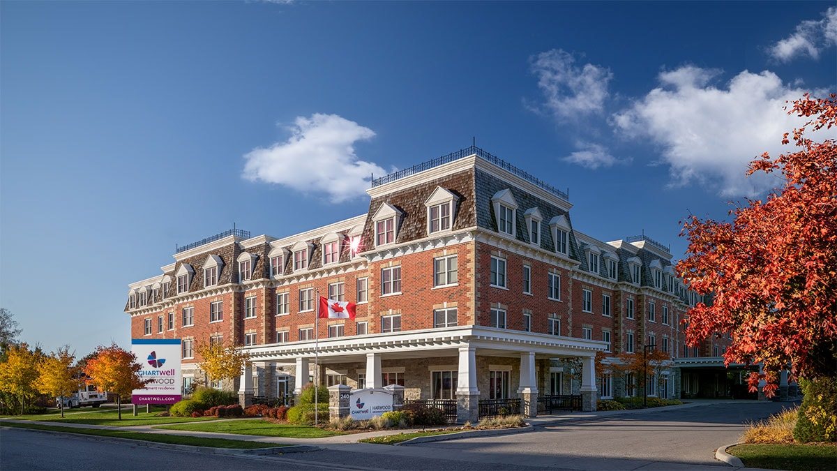 Stunning exterior of Chartwell Harwood retirement residence