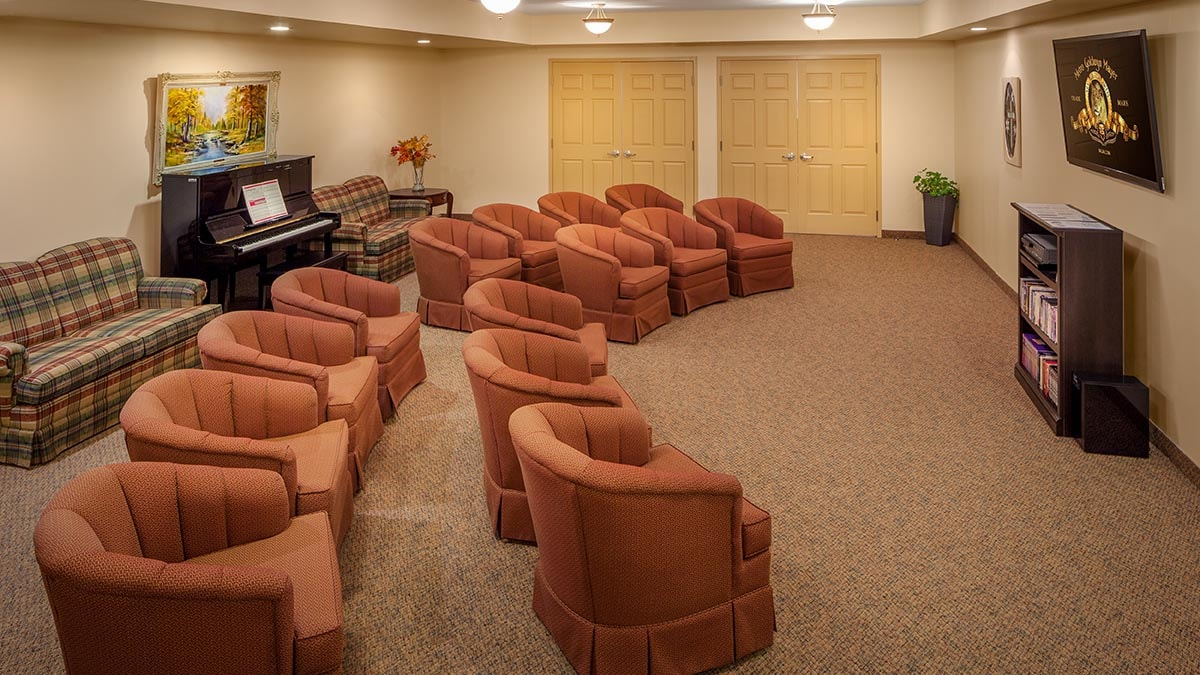 screening room at Chartwell James Street Retirement Residence