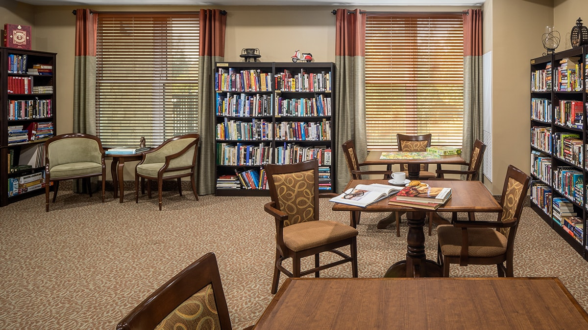 Quaint library at Chartwell Montgomery Village retirement residence