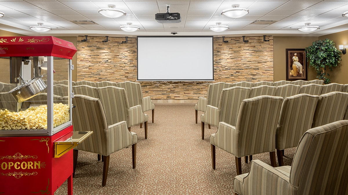 Elegant theatre at Chartwell Montgomery Village retirement residence