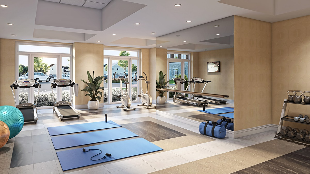 Spacious fitness room at Chartwell Montgomery Village Retirement Residence