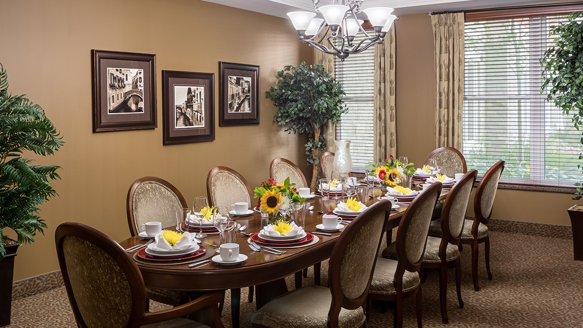 Spacious private dining room at Chartwell Montgomery Village retirement residence