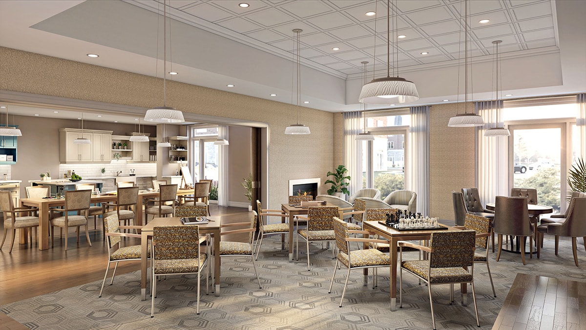 Spacious dining area at Chartwell Montgomery Village Retirement Residence