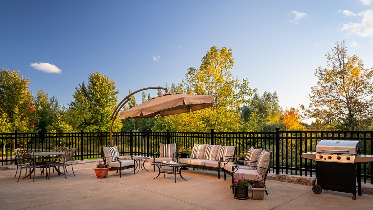 Spacious patio at Chartwell Montgomery Village retirement residence