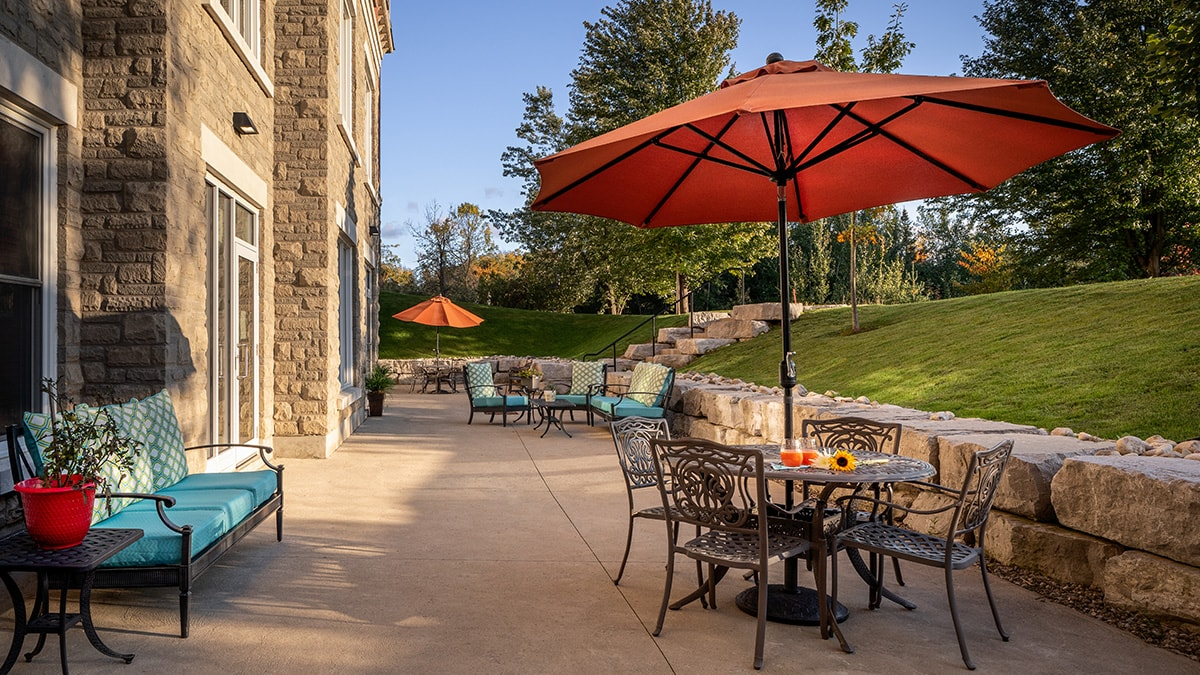 Beautiful patio at Chartwell Montgomery Village retirement residence