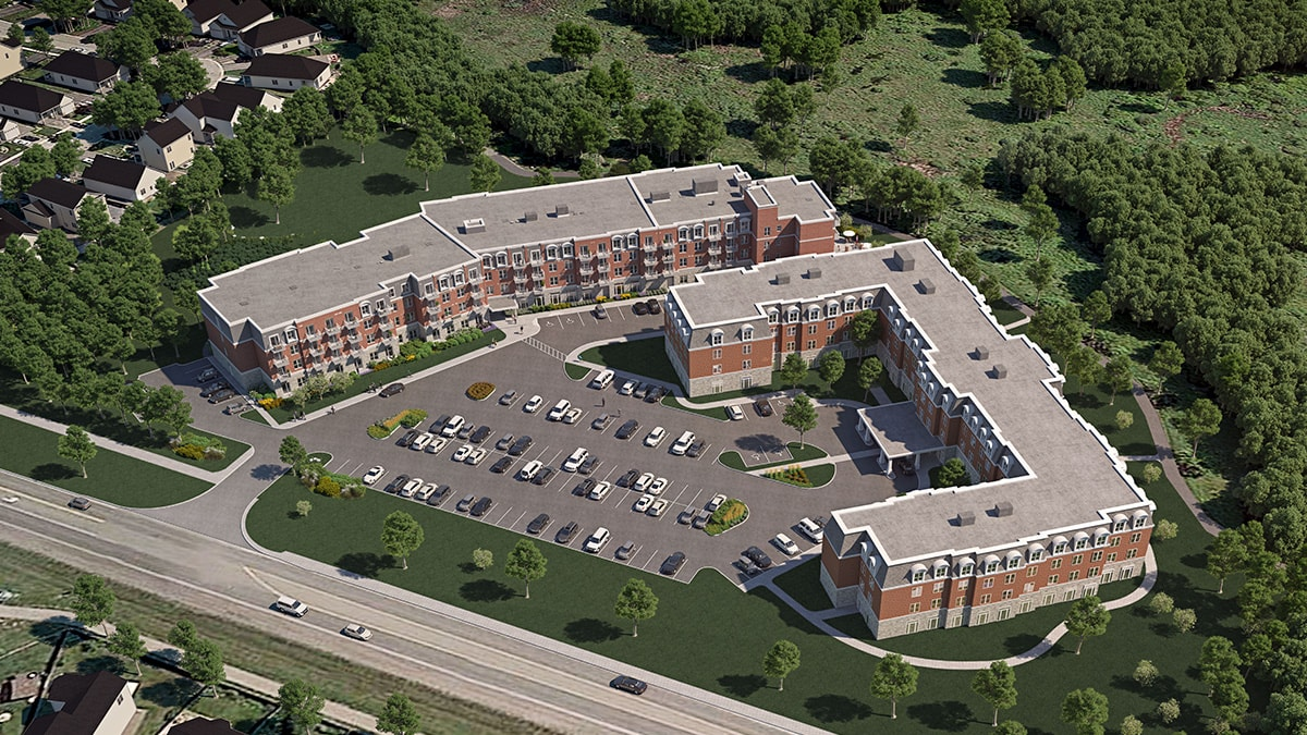 Aerial view of Chartwell Montgomery Retirement Residence