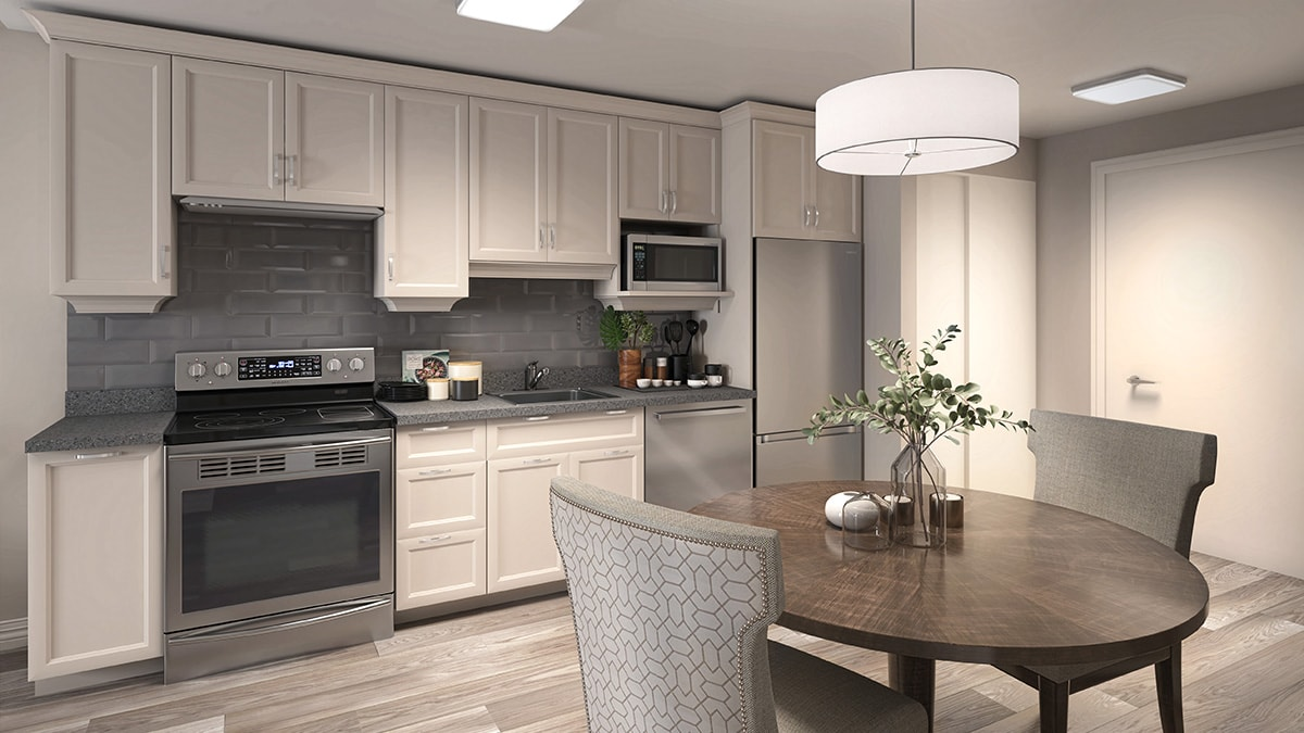 Beautiful Kitchen and dining are at Chartwell Montgomery Village Retirement Residence