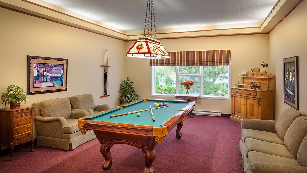 billiards table at Chartwell Southwind Retirement Residence