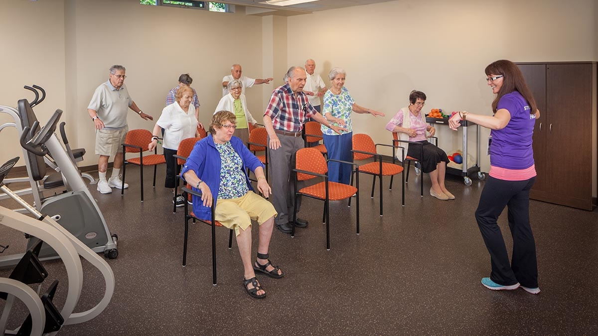 residents during exercise class at Chartwell Westmount Retirement Residence
